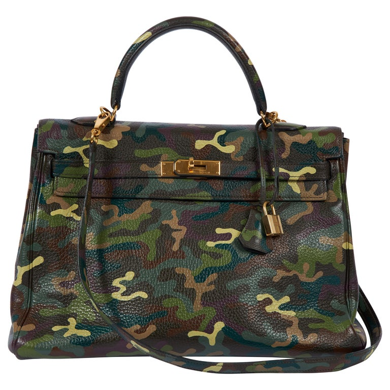 Hermes Olive Green Camouflage Kelly 35
