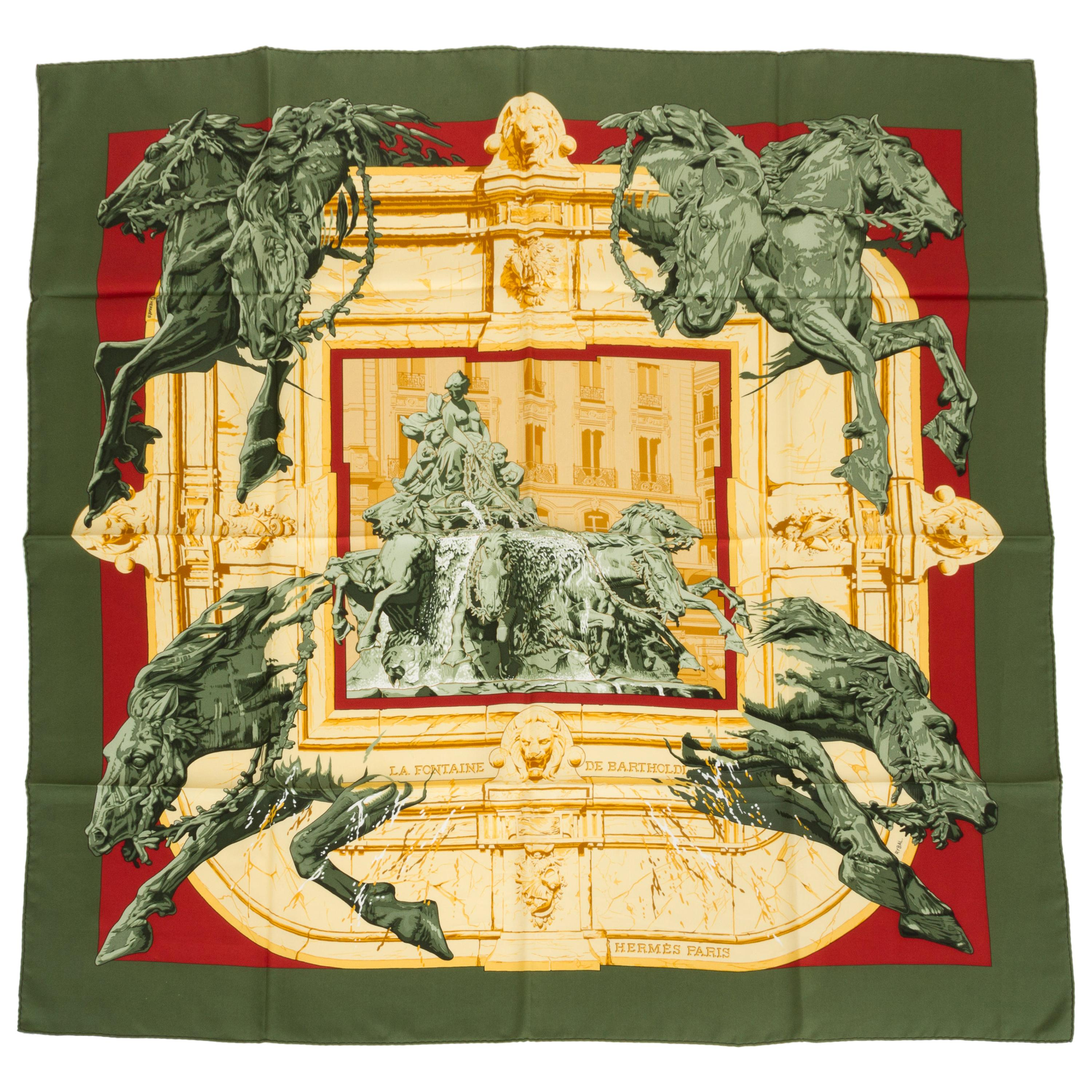 """Hermes Olive Green """" La Fontaine"""" Scarf"""