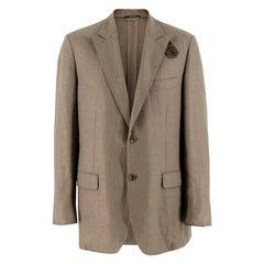 Hermes Olive Green Linen Blazer Size XL EU 52