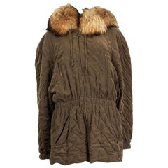 HERMES olive green QUILTE FUR TRIM HOODED PARKA Coat Jacket 44 XL