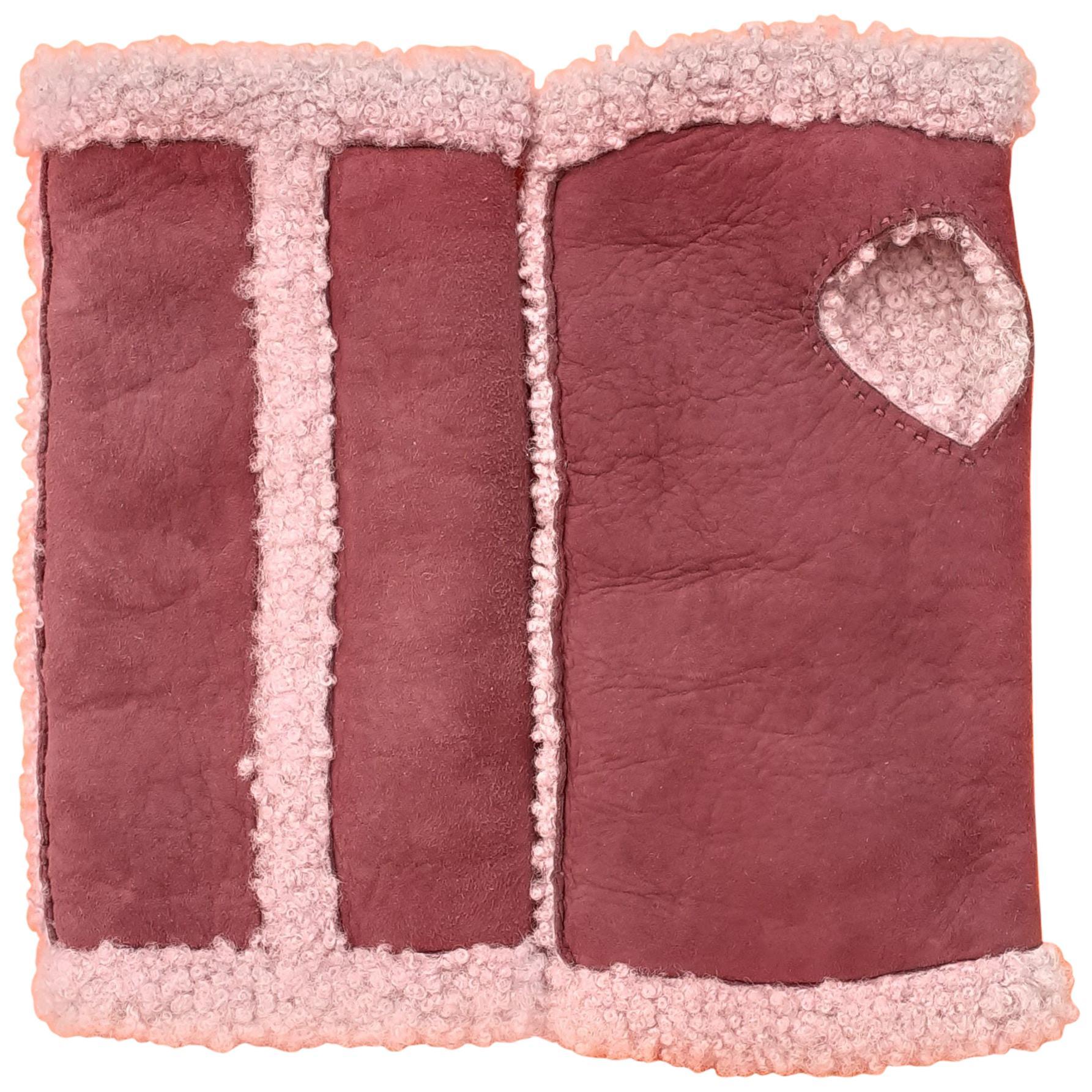 Hermès Open Gloves Mittens Teddy Plush Shearling Leather Wool Purple Size 6.5
