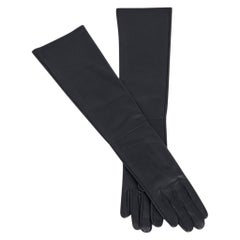 Hermes Opera Gloves Black Lambskin Leather 7 New