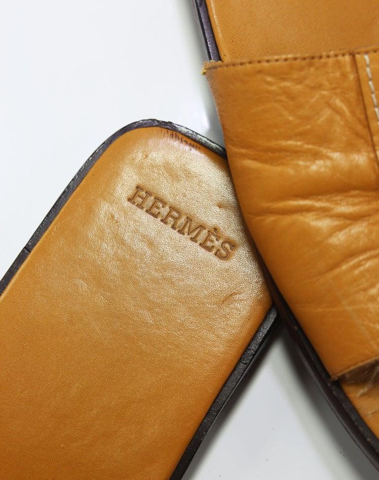 Orange Hermes Oran Leather Slide For Sale