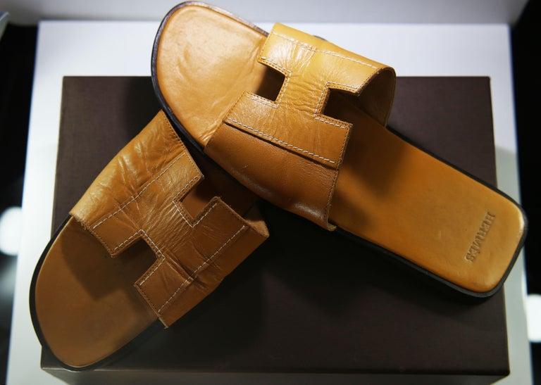 Hermes Oran Leather Slide For Sale 2