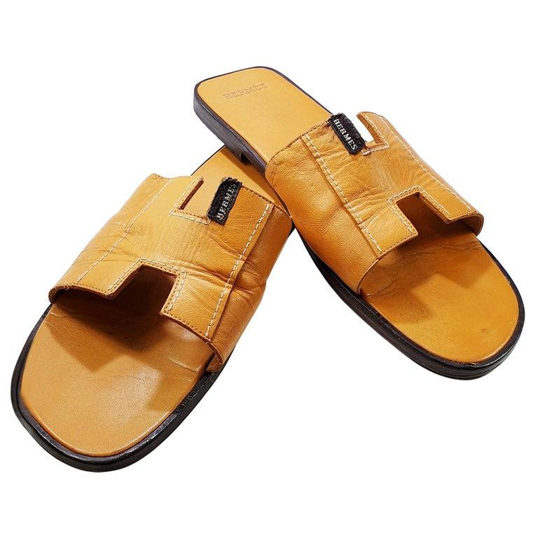 Hermes Oran Leather Slide For Sale