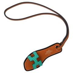 Hermes Oran Nano Bag Charm Lizard Green New w/ Box