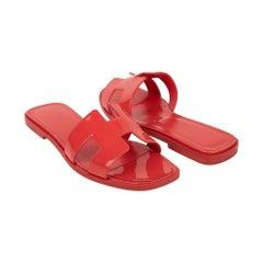 Hermes Oran Sandal Corail Patent Calfskin 37 / 7