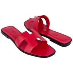 Hermes Oran Sandal Rose Cotinga Leather Flats 40 / 10 New w/Box