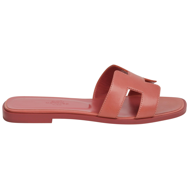 Hermes Oran Sandal Rouge Blush Chevre 37 / 7 New w/ Box