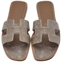 Hermes Oran Shoes Sandals Lizard Ombre  Size 40   NEW
