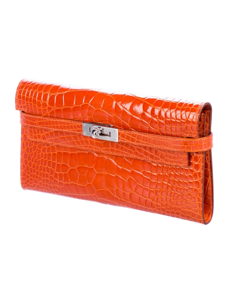 Red Hermes Orange Alligator Exotic Palladium Evening Kelly Clutch Wallet Bag in Box For Sale