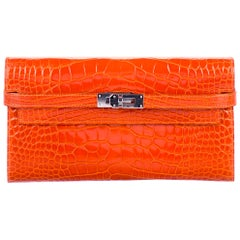 Hermes Orange Alligator Exotic Palladium Evening Kelly Clutch Wallet Bag in Box