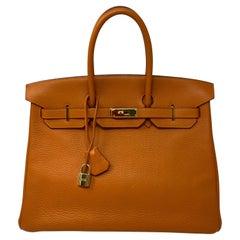 Hermes Orange Birkin 35 Bag