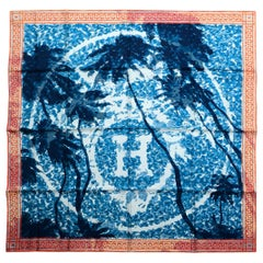 Hermes Orange/Bleu/Blanc Hermes A Beverly Hills Mosaic Print Silk Scarf
