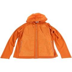 Hermès Orange Blousson Zippe A Capuche Hooded Zip Up Parka Jacket 58hz1009