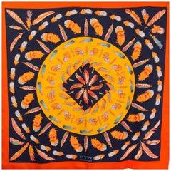 Hermes orange & blue PLUMES II 90 silk twill Scarf