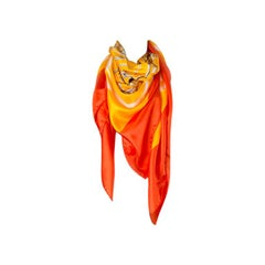HERMES orange BRIDES DE GALA 140 PLUME silk Shawl Scarf