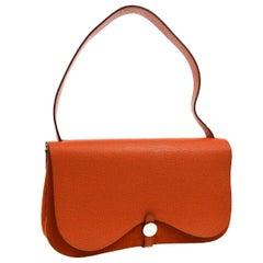 Hermes Orange Canvas Leather Evening Top Handle Satchel Shoulder Flap Bag