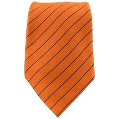 HERMES Orange & Charcoal Diagonal Striped Silk Tie 5041 PA