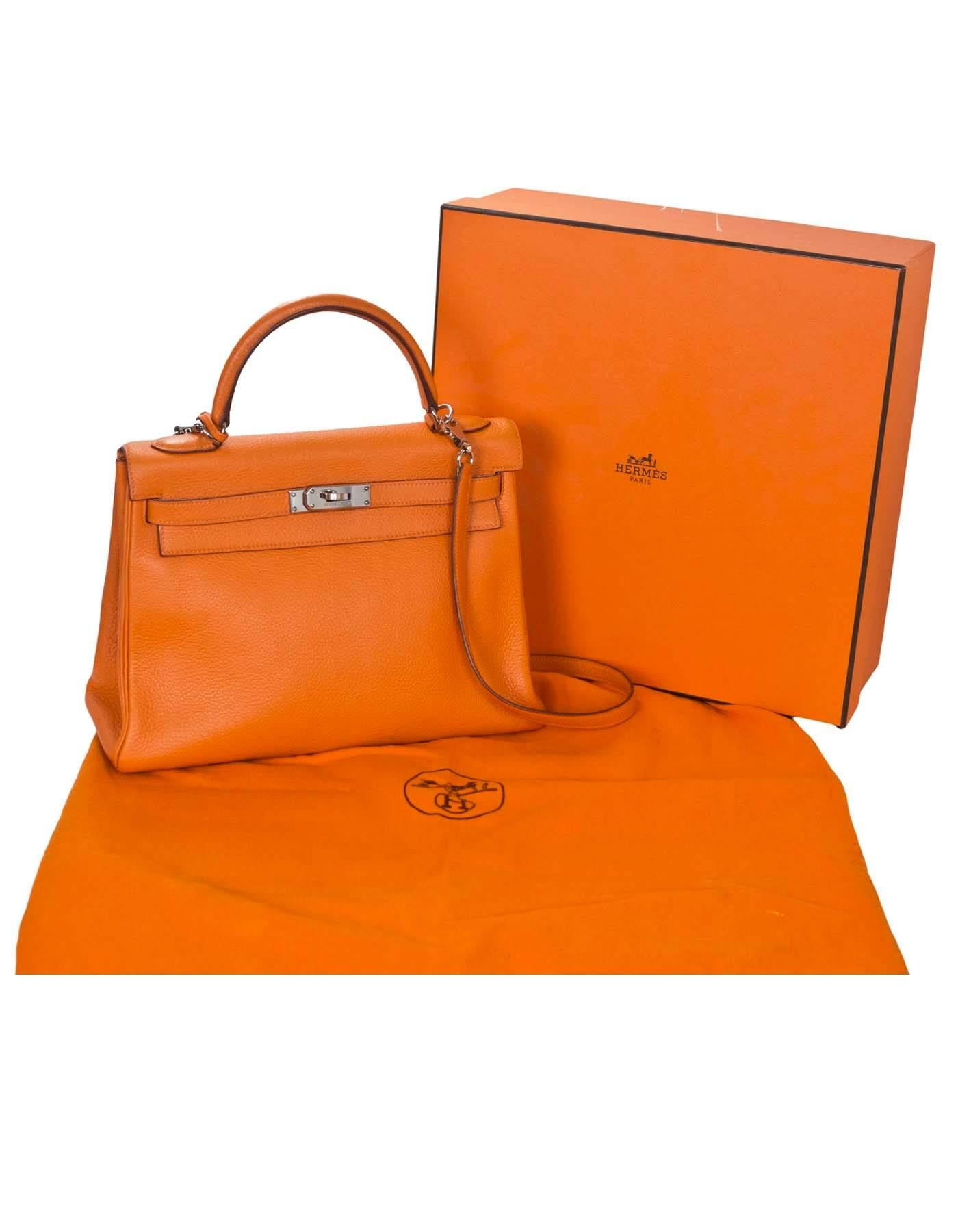 b91a096e643 ... best price hermes orange clemence leather 32cm kelly bag phw for sale 6  c1842 e49ba