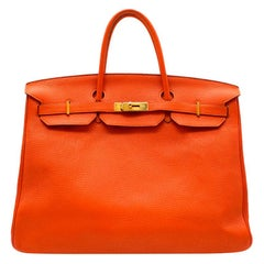 Hermes Orange Clemence Leather Birkin 40