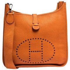 Hermes Orange Clemence Leather Evelyne III GM Bag