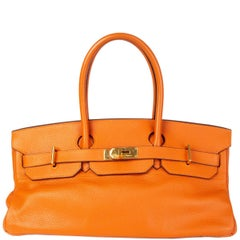 HERMES orange Clemence leather & Gold JPG I SHOULDER BIRKIN Bag