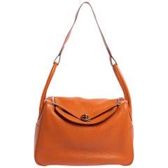 Hermes Orange Clemence Leather Palladium Hardware Lindy 34 Bag