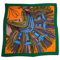 HERMES orange CUIRS DU DESERT DETAILS 140 cashmere silk Shawl Scarf