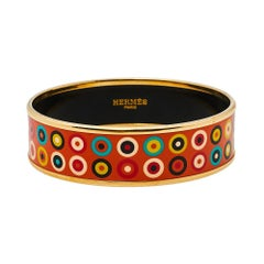 Hermès Orange Dancing Circles Enamel Gold Plated Wide Bangle Bracelet