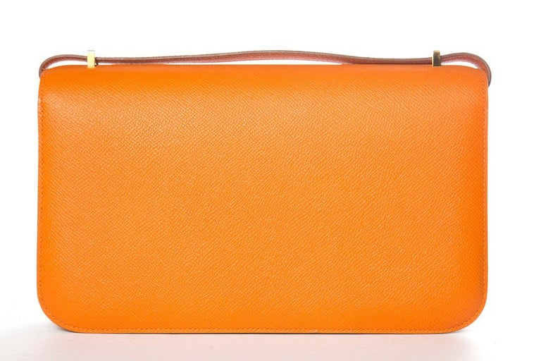 HERMÈS  Orange Epsom Constance Bag For Sale 8