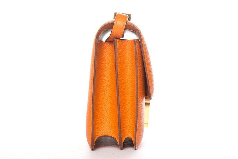 HERMÈS  Orange Epsom Constance Bag In Good Condition For Sale In Scottsdale, AZ