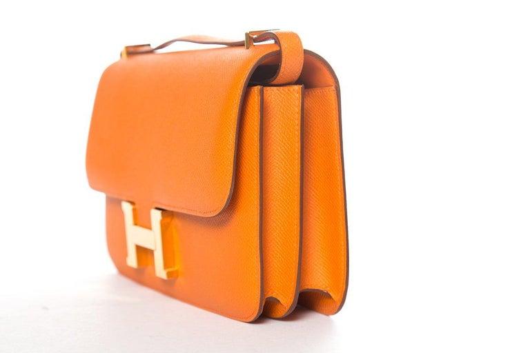 Women's HERMÈS  Orange Epsom Constance Bag For Sale
