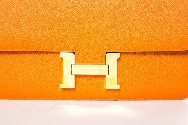 HERMÈS  Orange Epsom Constance Bag For Sale 1