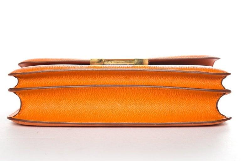 HERMÈS  Orange Epsom Constance Bag For Sale 2