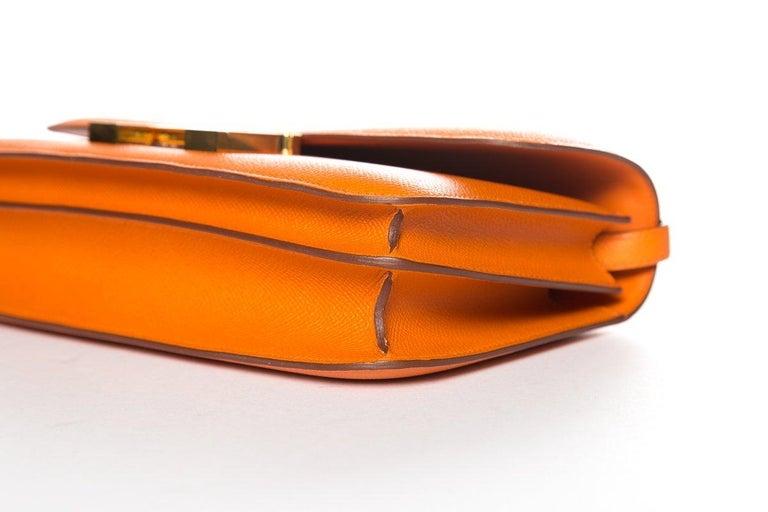 HERMÈS  Orange Epsom Constance Bag For Sale 3