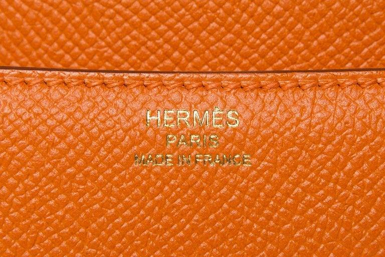 HERMÈS  Orange Epsom Constance Bag For Sale 5
