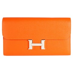 Hermès Orange Epsom Constance Long Wallet PHW