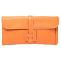 Hermes Orange Epsom Leather Elan Jige 29 Clutch