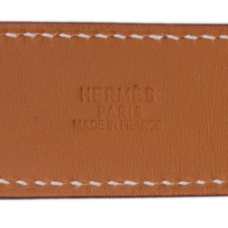 HERMES orange ETRIVIER 32mm Belt 100 Chamonix In New Condition For Sale In Zürich, CH