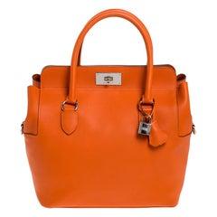 Hermes Orange Ever Color Leather Palladium Hardware Toolbox 26 Bag