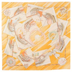 Hermes orange FACE AU LARGE 90 silk Scarf