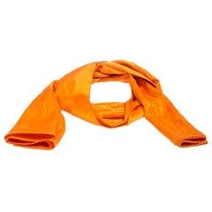 Hermes Orange Grand H Faconnee Jacquard Silk Blend Scarf