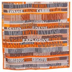 HERMES orange gray silk twill MOTS DE SOIE 90 Scarf