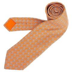 HERMES orange & grey silk twill CHAINE D'ANCRE Tie