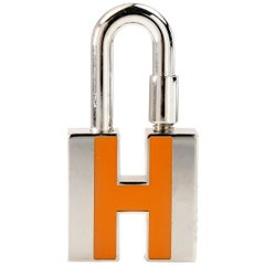 Hermès Orange H Palladium Cadena Lock Charm