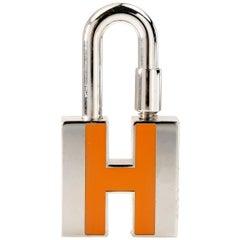 Hermès Orange H Palladium Cadena Lock Charm