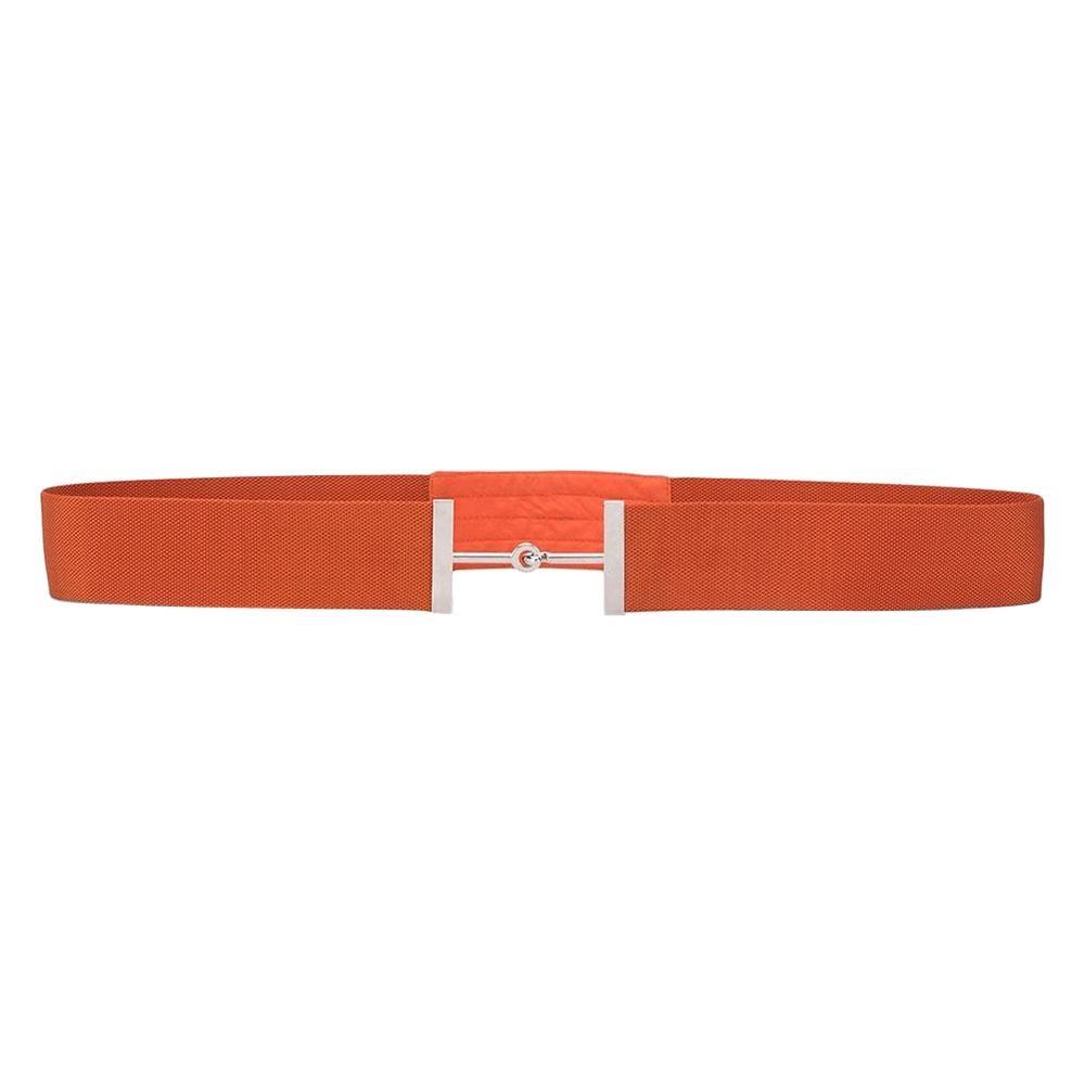 Hermes Orange Horsebit Buckle Belt