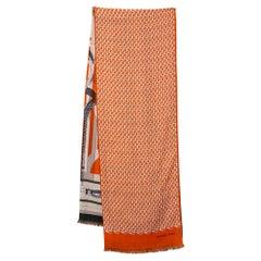 Hermès Orange Imprimeur Fou H Coaching Cashmere Silk Muffler