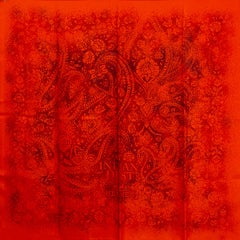 Hermes orange INDIAN DUST 90 Scarf silk